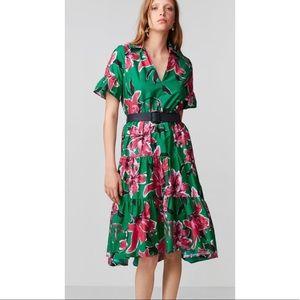 {Zara} Floral Print Belted Dress